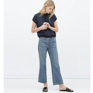 Zara High Short Waisted Retro Flare Jeans